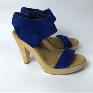 Loeffler Randall Blue Suede Wedge Pump Sandals